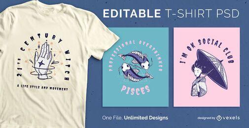 T-shirt escalonável com texto curvo psd