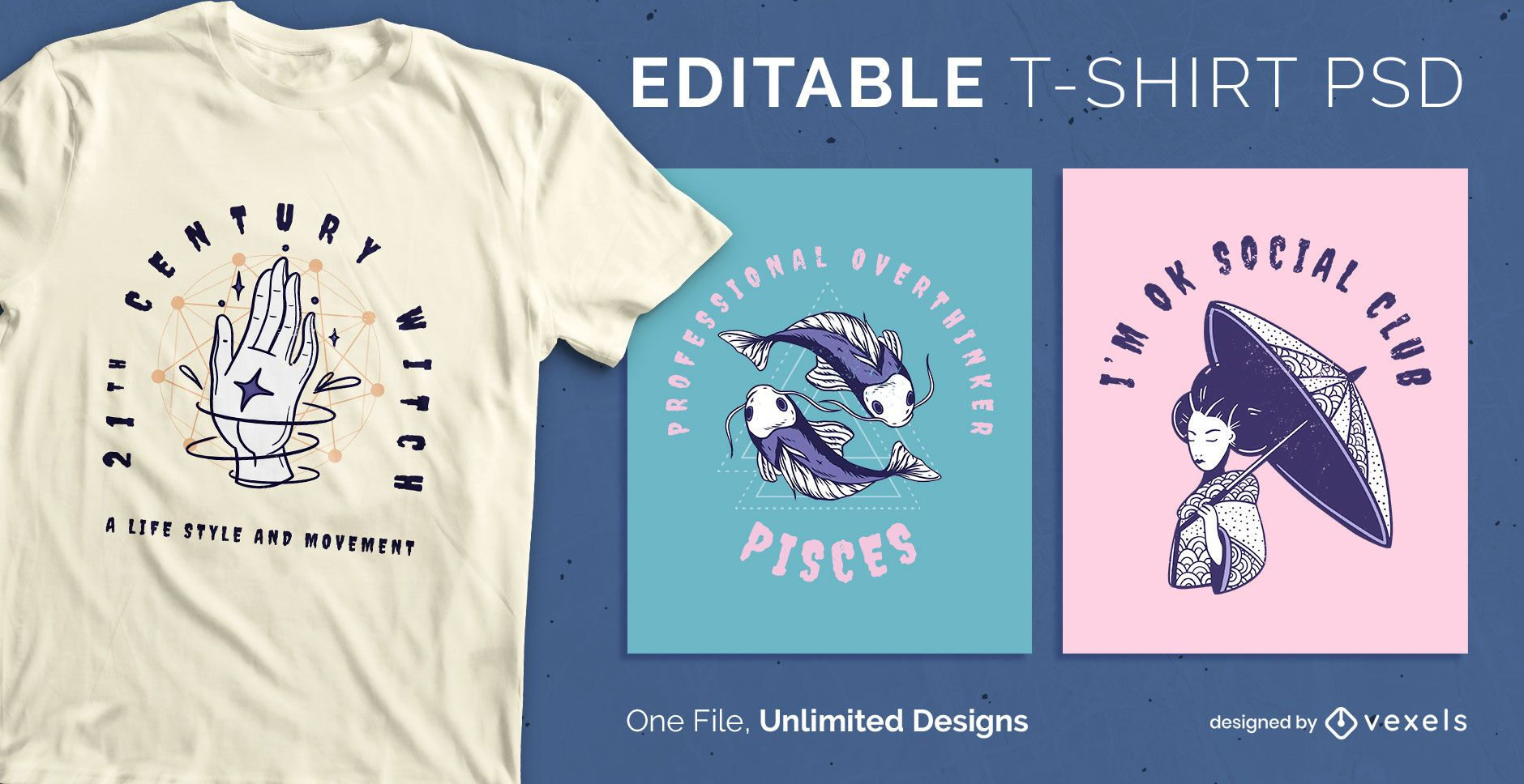 Curved text scalable t-shirt psd