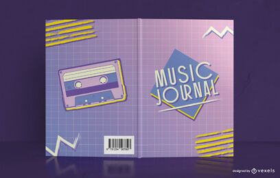 90er Jahre Music Journal Book Cover Design