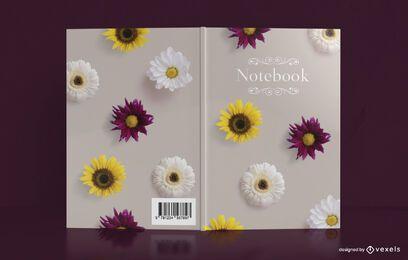 Design de capa para notebook com flores reais
