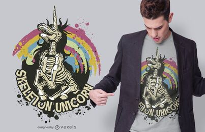 Skeleton unicorn t-shirt design