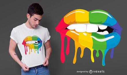 Diseño de camiseta de labios de arco iris