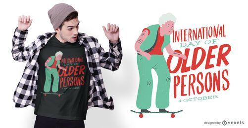 Diseño de camiseta del día de las personas mayores.