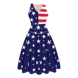 American patterned dress illustration