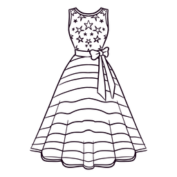 American patterned dress stroke
