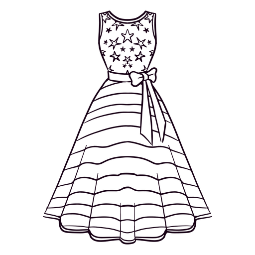 American patterned dress stroke