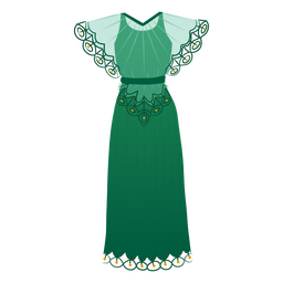 Female detailed  dress outfit illustration