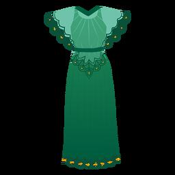 Ilustración de traje de vestido detallado femenino