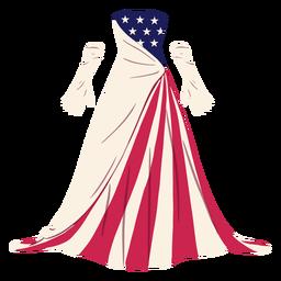 Ilustração formal de vestido estampado americano