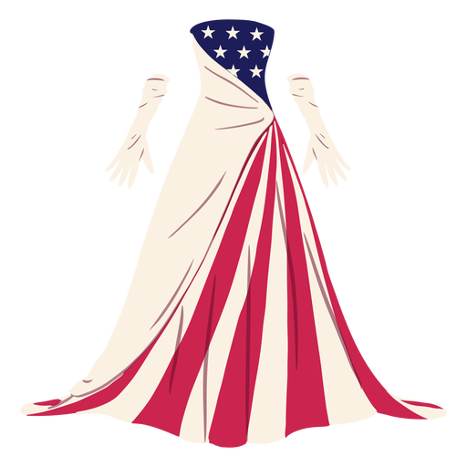 Formal american patterned dress illustration