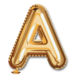 Alfabeto balão com letra dourada a