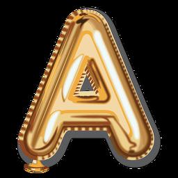 Goldener Buchstabe Ballon Alphabet a