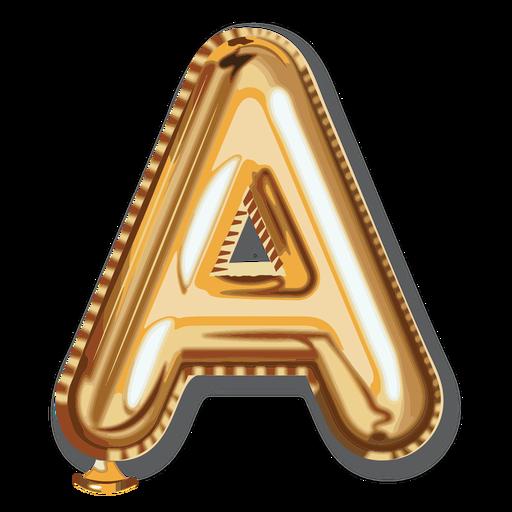 Alfabeto de globo de letra dorada a