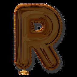 Alfabeto balão com letra dourada r
