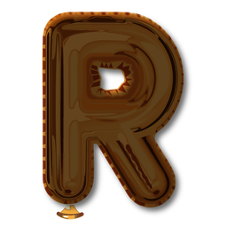 Golden letter balloon alphabet r