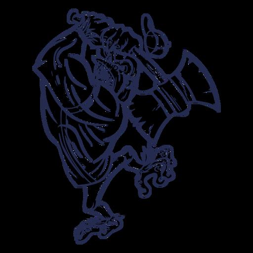 Ilustración de hacha enojada de gorila