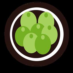 Green grapes fruit flat