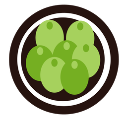 Uvas verdes fruta plana