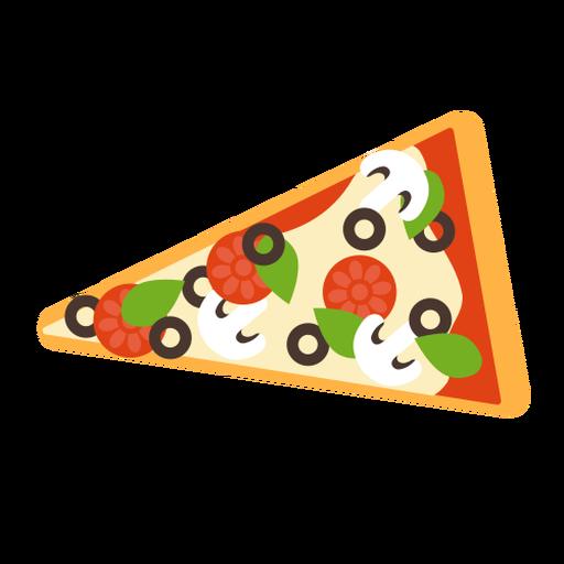 Pizza rebanada champiñones pepperoni plana