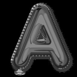 Alfabeto de balão com letras prateadas a