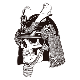 Dibujado a mano cráneo samurai