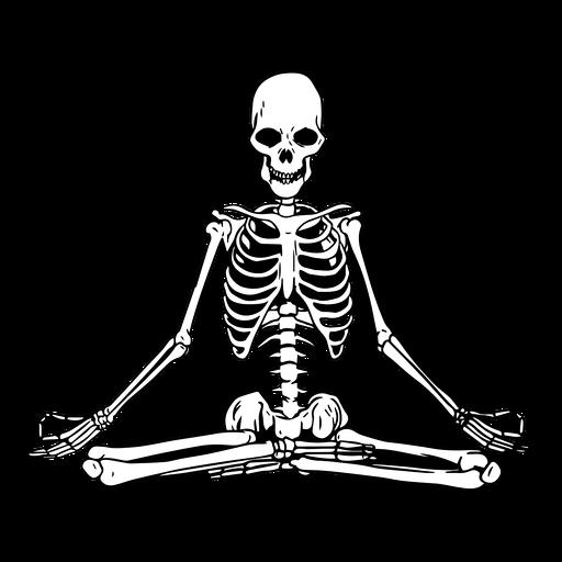 Skull yoga meditate illustration