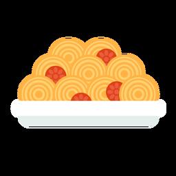 Plano de comida de pasta de espagueti