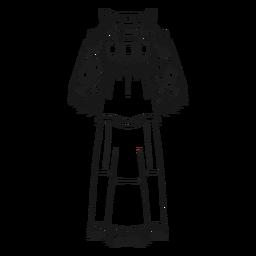 Trazo de traje tradicional nativo americano