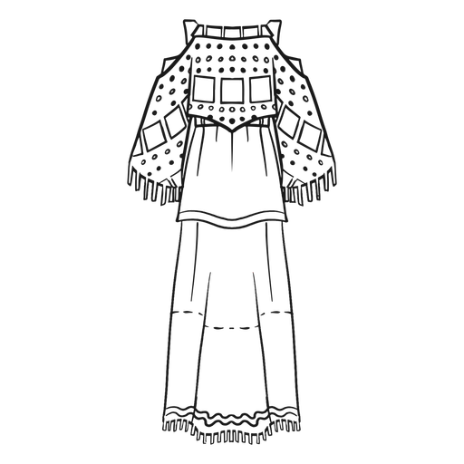 Traditional native american outfit stroke Transparent PNG