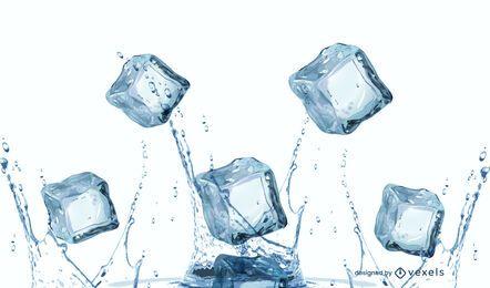Diseño de salpicaduras de cubo de hielo realista