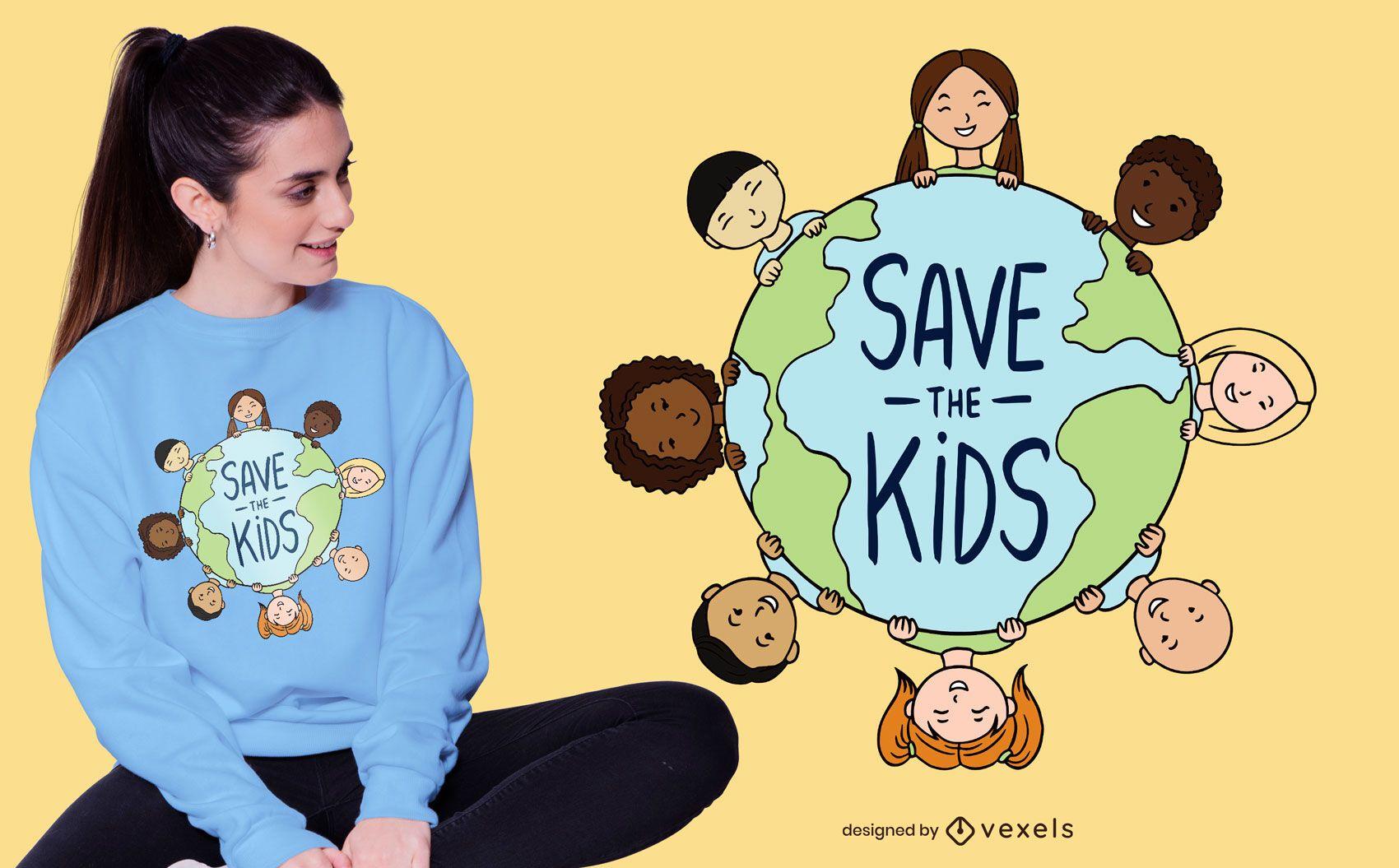 Diseño de camiseta Save the Kids