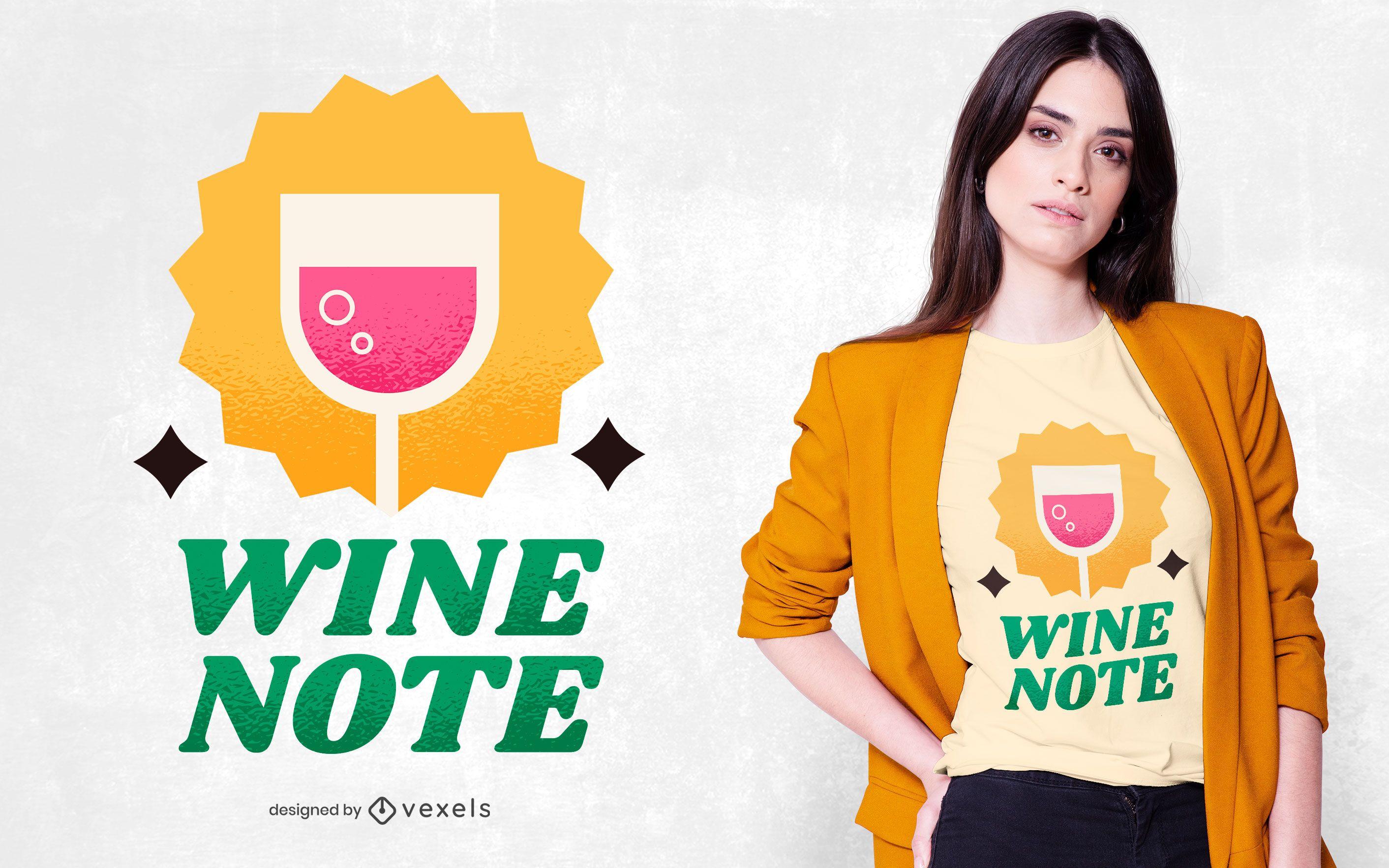 Diseño de camiseta Wine Note