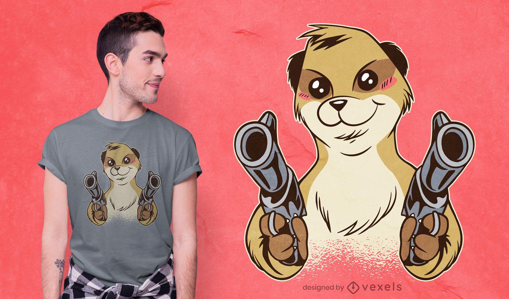 Dual Wielding Meerkat T-shirt Design
