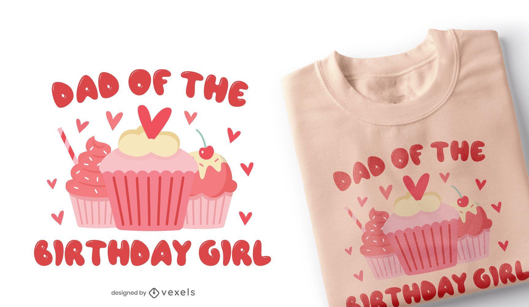 Design de t-shirt do pai da menina do aniversário