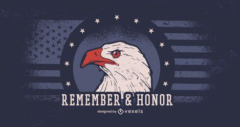 Bandera del día de los veteranos de recuerda y honra