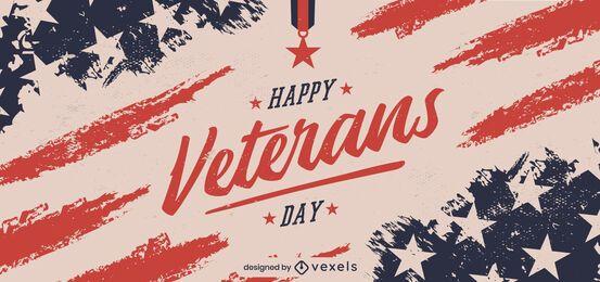 Diseño de banner de feliz día de los veteranos