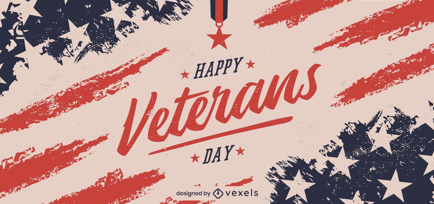 Feliz dia dos veteranos desenho de banner
