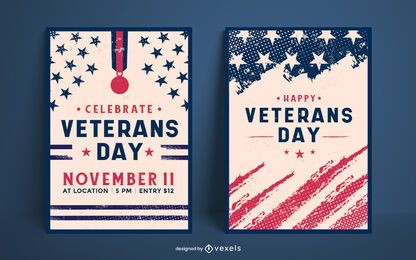 Conjunto de design de pôster do dia dos veteranos