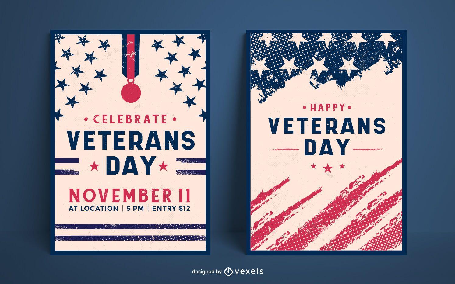 Conjunto de diseño de carteles del día de los veteranos