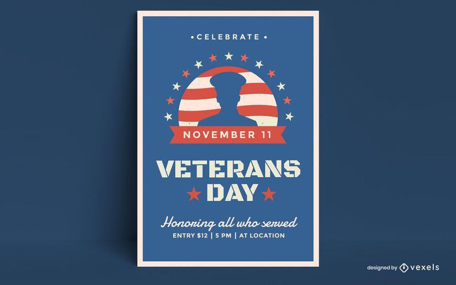 Design de cartaz do dia dos veteranos