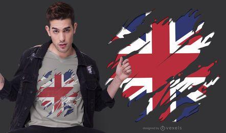 Design de t-shirt com bandeira do Reino Unido