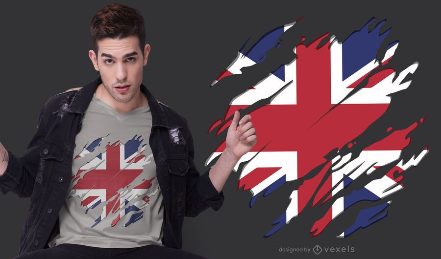 Diseño de camiseta con bandera de Reino Unido