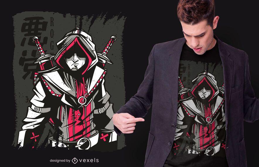 Dark Medieval Assassin T-shirt Design