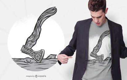 Diseño de camiseta de hacha vikinga.