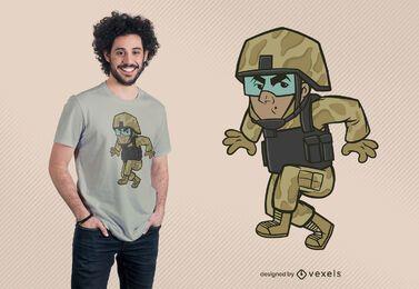 Diseño de camiseta de soldado astuto