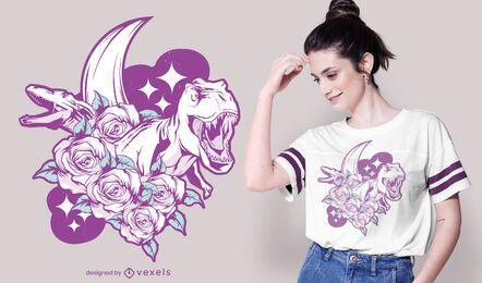 Diseño de camiseta de dinosaurios florales.