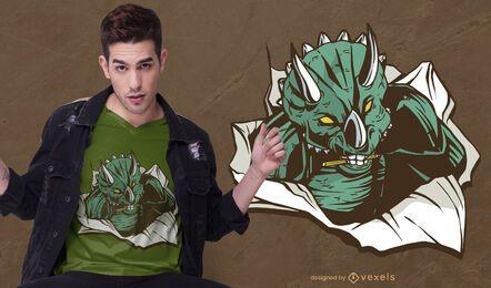 Diseño de camiseta de papel Triceratops.
