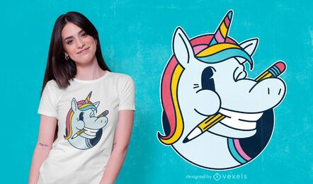 Unicorn pencil t-shirt design