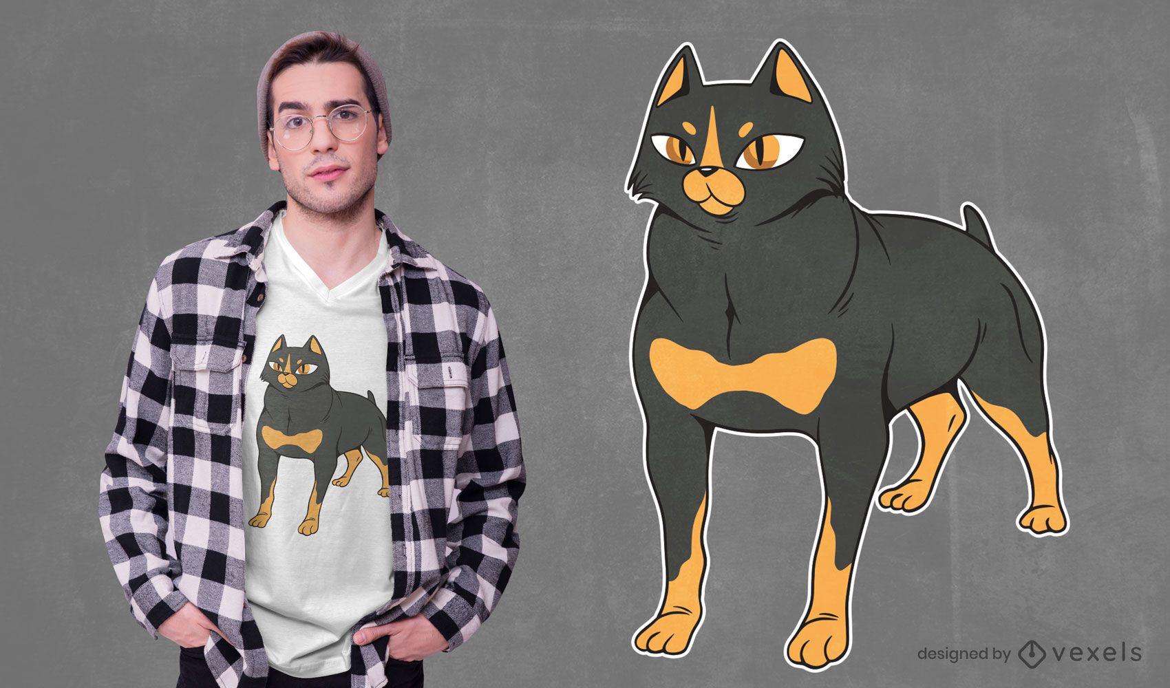 Rottweiler cat t-shirt design
