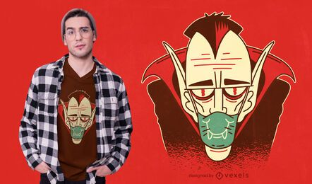 Diseño de camiseta de máscara facial de Drácula.